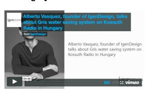Alberto talks about Gris water saving system in Kossuth Radio